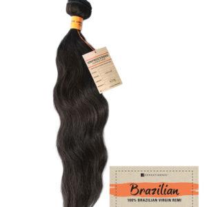 100% BRAZILIAN REMY Human Hair Echthaar Weave/Tresse NATURAL WAVY 46cm