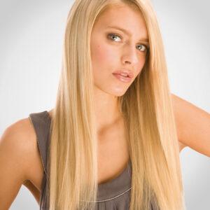 100% Human Hair Echthaar Extensions WEAVE Tressen European Straight 45cm(Blonde