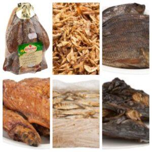 geräucherter Fisch /Geflügel/Stockfisch