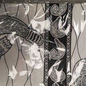 African Wax Print Textile Supreme Wax 6 Yard Black & White