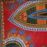 African Wax Afrikanischer Wax-Stoff Print Dekostof Dashiki Red 6Yard